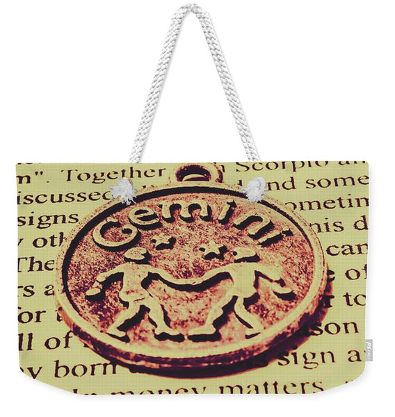 Old Horoscope Of Gemini Weekender Tote Bag