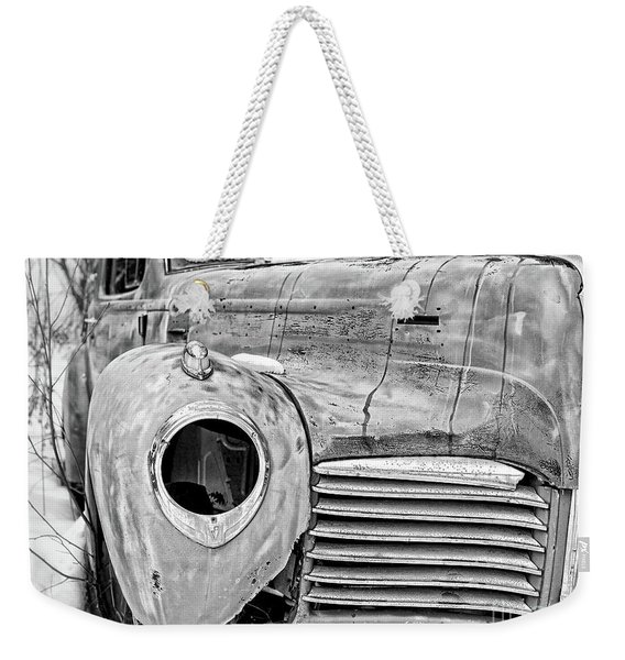 Old Hudson In The Snow Black And White 4x3 Weekender Tote Bag