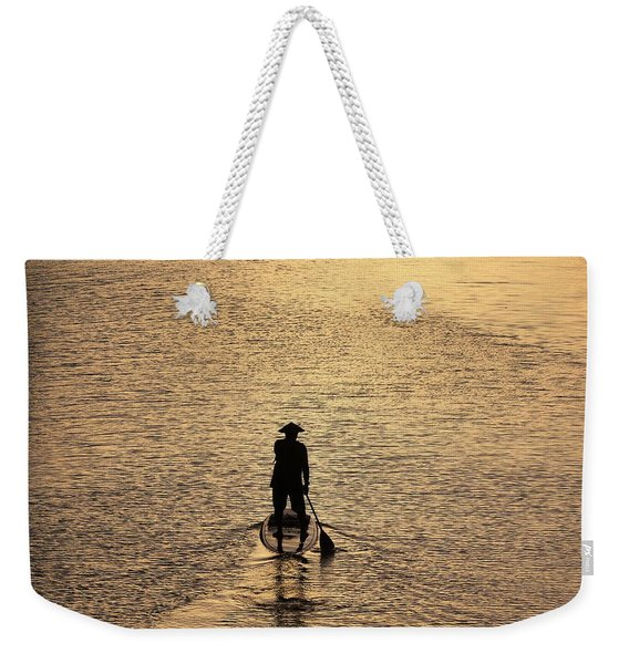 Old Man Paddling Into The Sunset Weekender Tote Bag