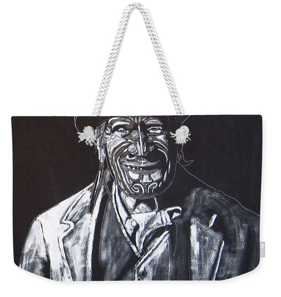 Weekender Tote Bag featuring the painting Old Maori Tane by Richard Le Page