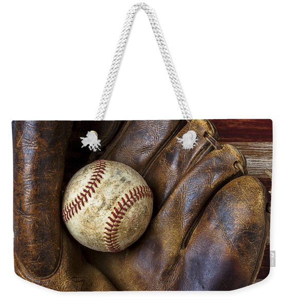 Old Mitt And Baseball Weekender Tote Bag