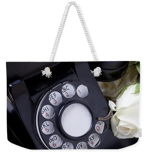 Old Phone And White Roses Weekender Tote Bag