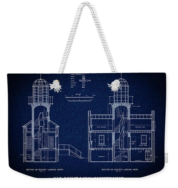 Old Point Loma Lighthouse Blueprint - San Diego Weekender Tote Bag