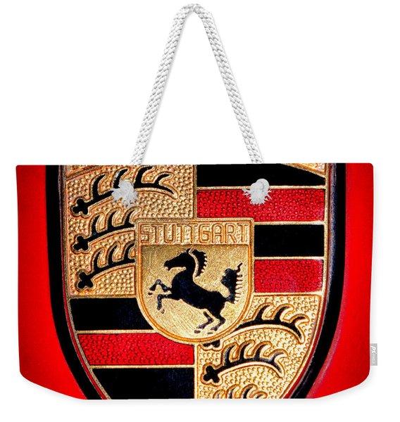 Old Porsche Badge Weekender Tote Bag