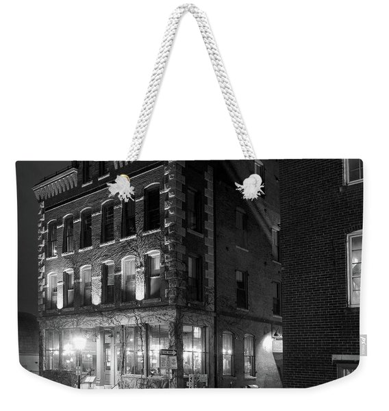 Weekender Tote Bag featuring the photograph Old Port, Portland, Maine  #69480-69482-bw by John Bald