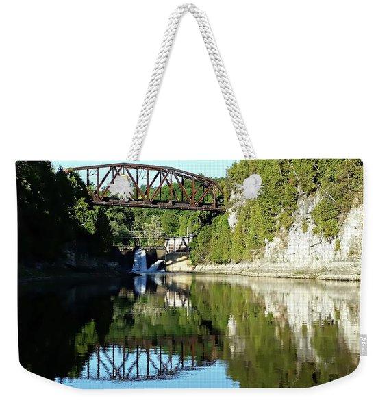 Old Railway Bridge Over The Winooski River Weekender Tote Bag