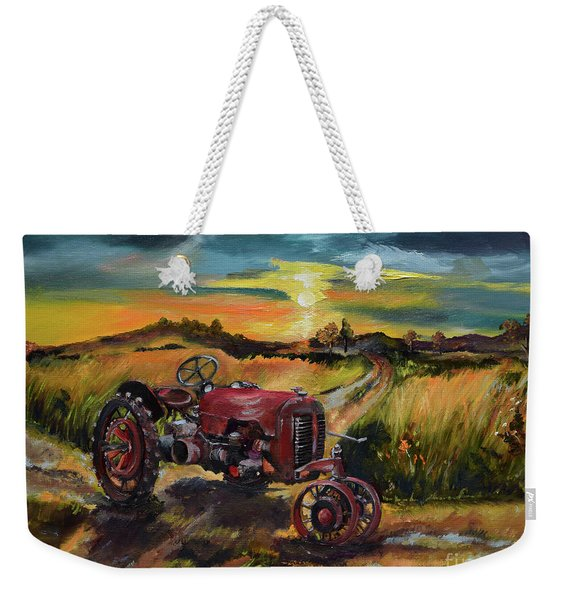 Old Red At Sunset - Tractor Weekender Tote Bag