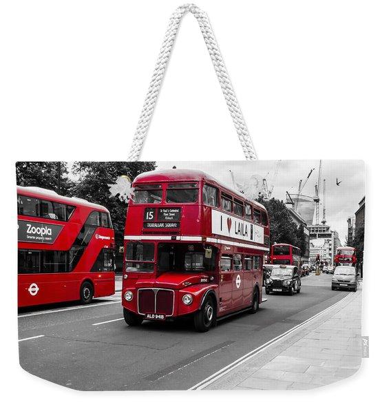 Old Red Bus Bw Weekender Tote Bag