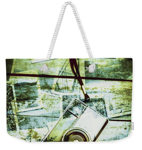 Old Retro Film Camera In Creative Composition Weekender Tote Bag