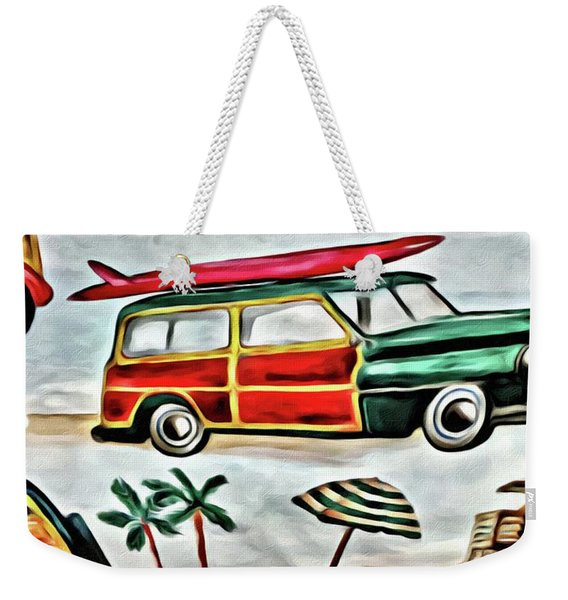 Old School Beach Time Weekender Tote Bag