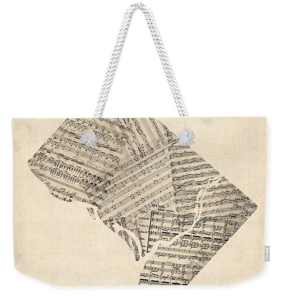 Old Sheet Music Map Of Washington Dc Weekender Tote Bag