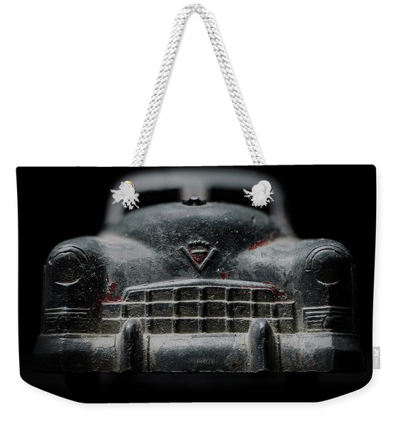 Old Silver Cadillac Toy Car With Specks Of Red Paint Weekender Tote Bag