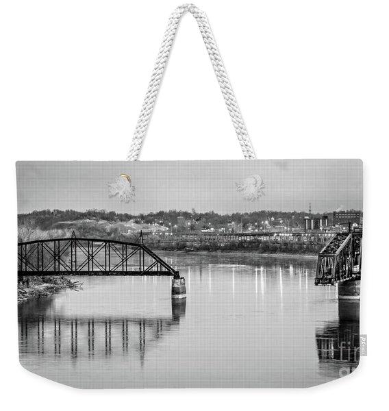 Old Swing Bridge Trestle In Bw Weekender Tote Bag