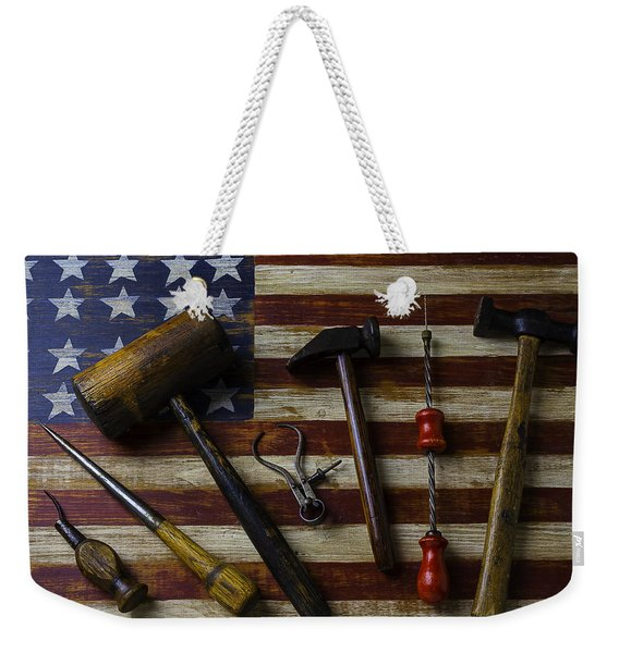 Old Tools On Wooden Flag Weekender Tote Bag