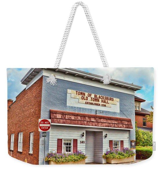 Old Town Hall Blacksburg Virginia Est 1798 Weekender Tote Bag