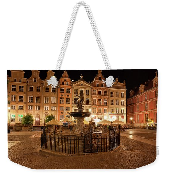 Old Town Of Gdansk By Night In Poland Weekender Tote Bag