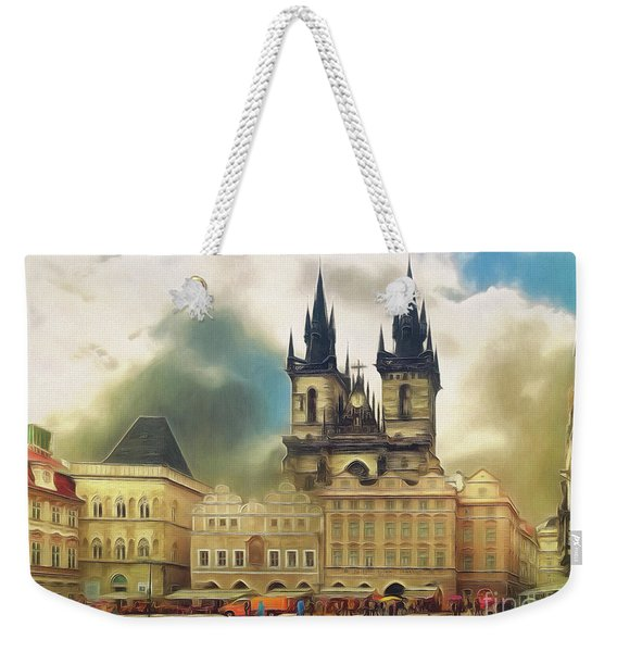 Old Town Square Prague In The Rain Weekender Tote Bag