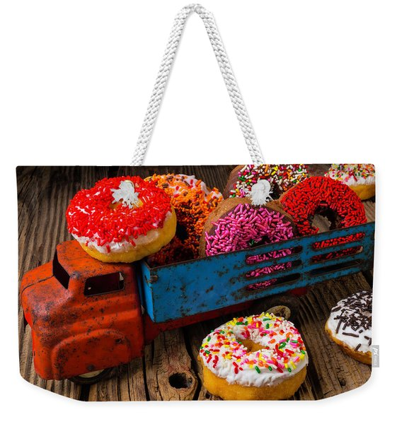 Old Toy Truck And Donuts Weekender Tote Bag