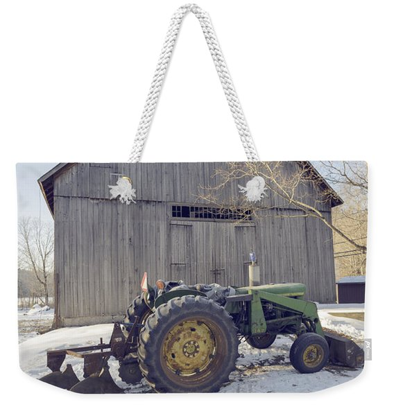 Old Tractor By The Barn Winter Etna Weekender Tote Bag