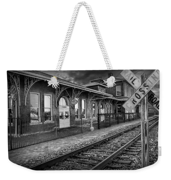 Old Train Station With Crossing Sign In Black And White Weekender Tote Bag