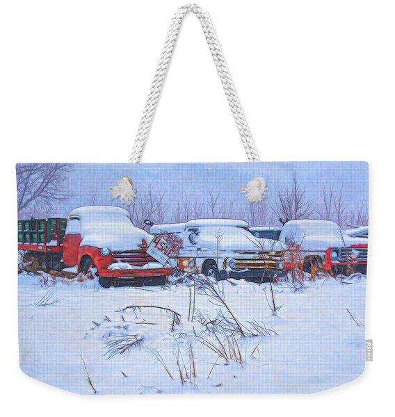 Old Trucks In Snow Weekender Tote Bag