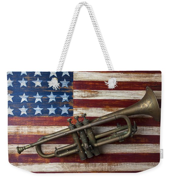 Old Trumpet On American Flag Weekender Tote Bag