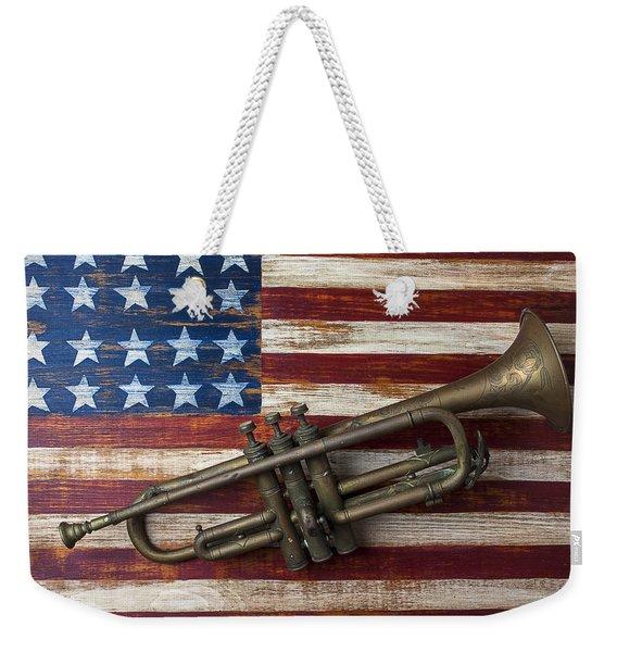 Old Trumpet On American Flag Weekender Tote Bag