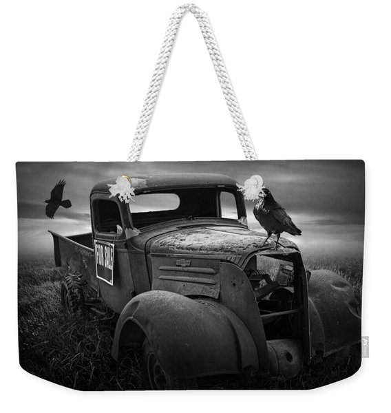 Old Vintage Chevy Pickup Truck With Ravens Weekender Tote Bag