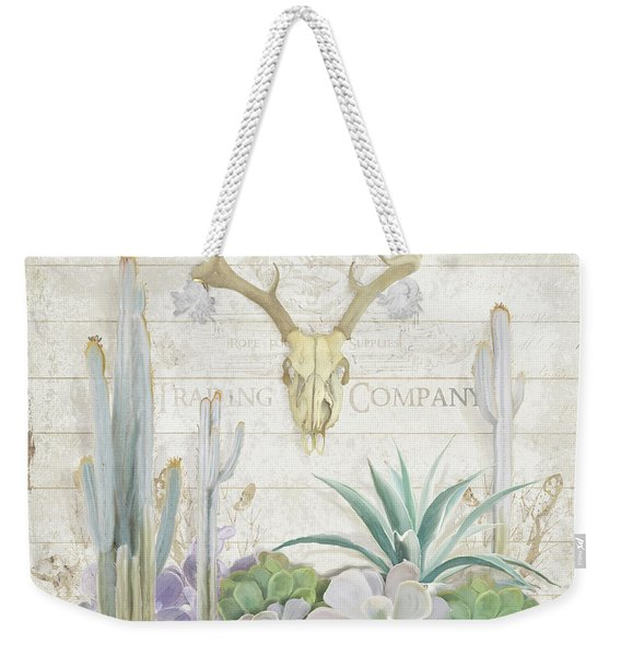 Old West Cactus Garden W Deer Skull N Succulents Over Wood Weekender Tote Bag