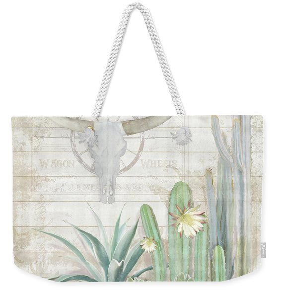 Old West Cactus Garden W Longhorn Cow Skull N Succulents Over Wood Weekender Tote Bag