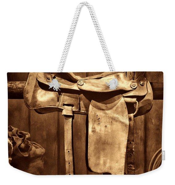 Old Western Saddle Weekender Tote Bag