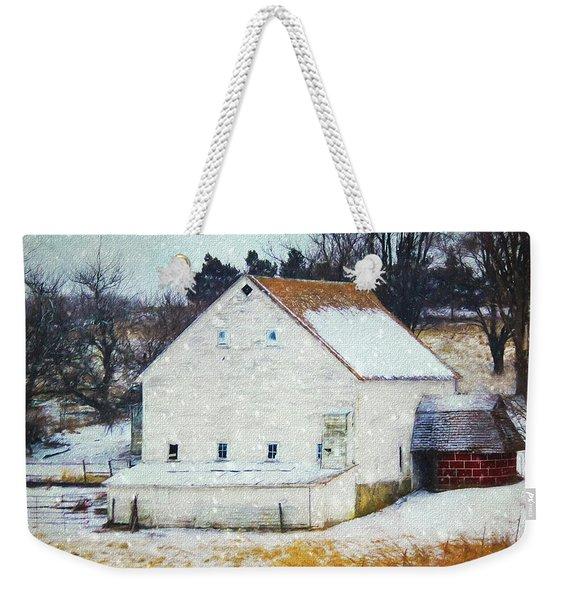Old White Barn In Snow Weekender Tote Bag