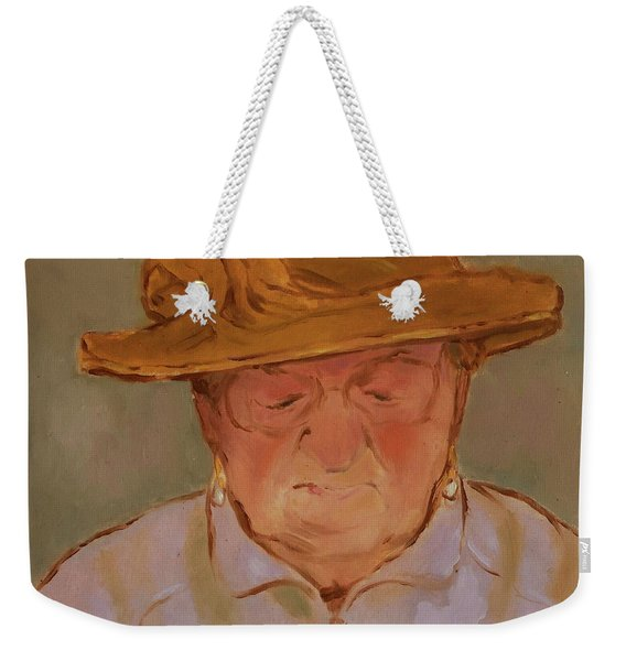 Old Woman With Yellow Hat Weekender Tote Bag