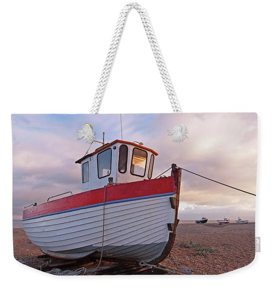 Old Wooden Fishing Boat Home By Sunset Weekender Tote Bag