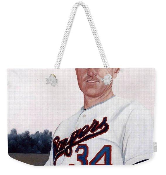 Older Nolan Ryan With The Texas Rangers Weekender Tote Bag