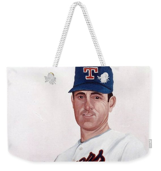 Weekender Tote Bag featuring the painting Older Nolan Ryan With The Texas Rangers by Rosario Piazza