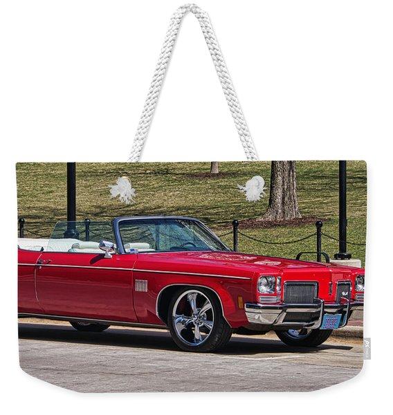 Oldsmobile Delta Royale 88 Red Convertible Weekender Tote Bag
