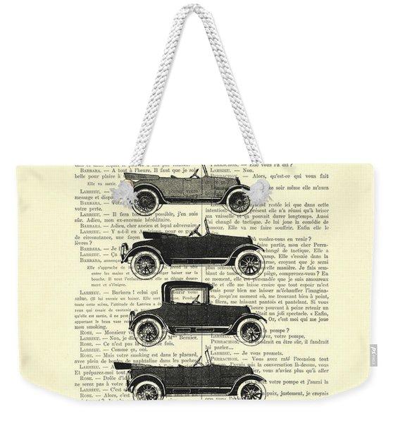 Collection Oldtimers In Black And White Vintage Illustration Weekender Tote Bag