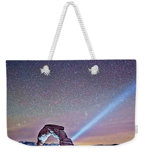 Olena Art Starry Night Pointer At Delicate Arch Moab National Park Weekender Tote Bag