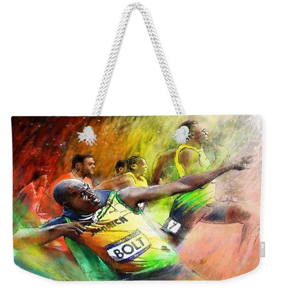 Olympics 100 M Gold Medal Usain Bolt Weekender Tote Bag