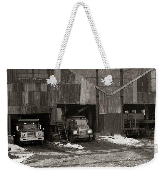 Olyphant Pa Coal Breaker Loading Trucks And Gondola Car Winter 1971 Weekender Tote Bag