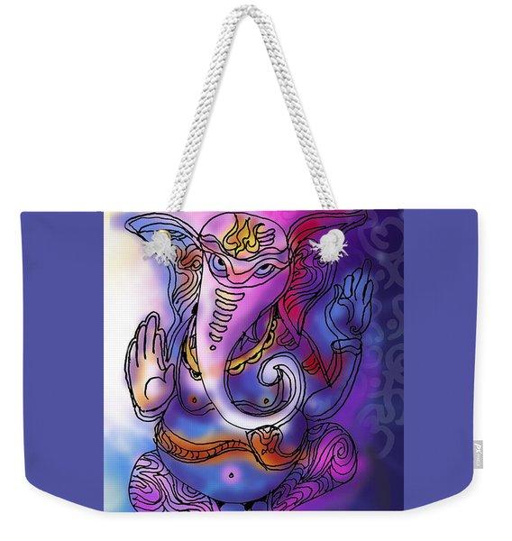 Weekender Tote Bag featuring the painting Omkareshvar Ganesha by Guruji Aruneshvar Paris Art Curator Katrin Suter