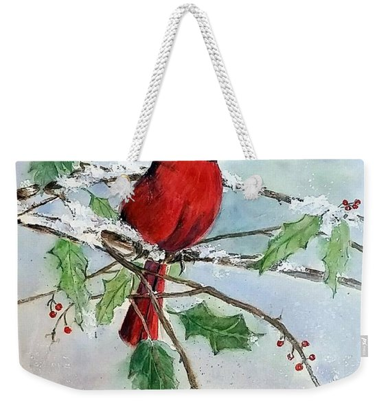 On A Snowy Perch Weekender Tote Bag