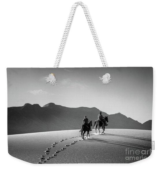 On Horseback At White Sands Weekender Tote Bag