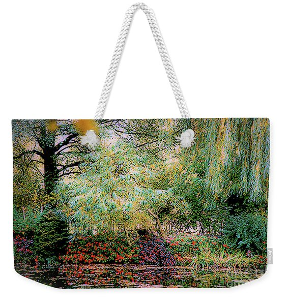 Reflection On, Oscar - Claude Monet's Garden Pond Weekender Tote Bag