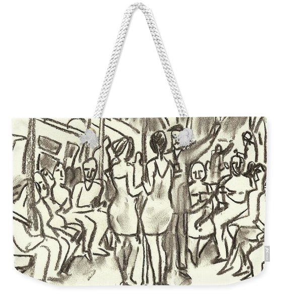 On The A, New York City Subway Drawing Weekender Tote Bag