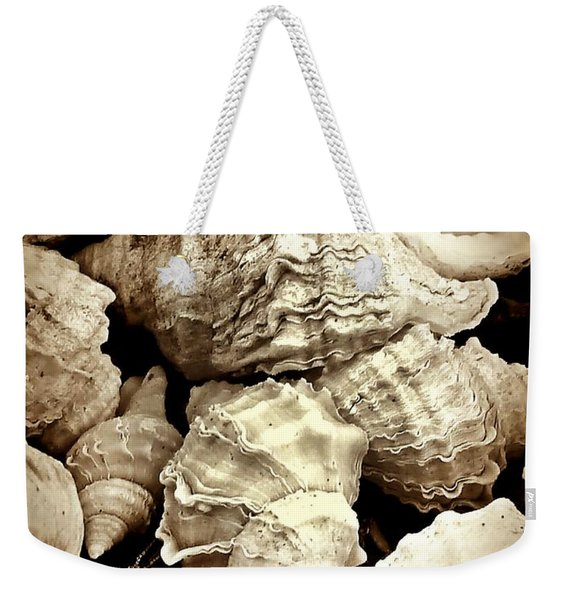 Weekender Tote Bag featuring the photograph On The Beach - Shells In Sepia by Patricia Strand