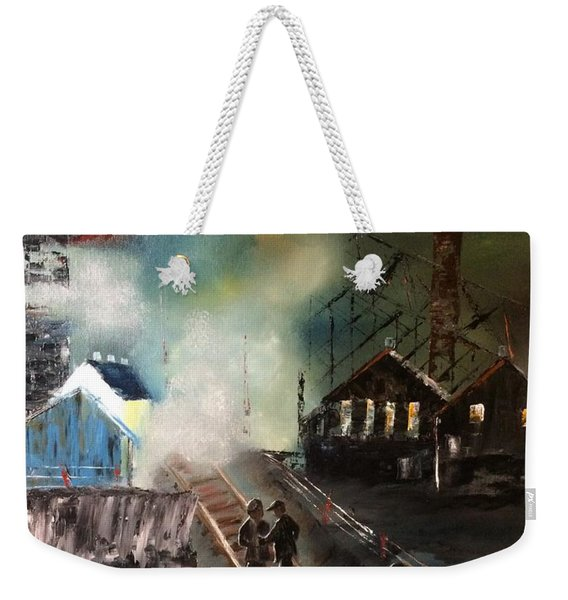 Weekender Tote Bag featuring the painting On The Pennsylvania Tracks by Denise Tomasura