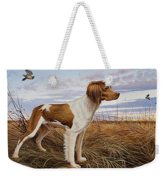 On Watch - Brittany Spaniel Weekender Tote Bag