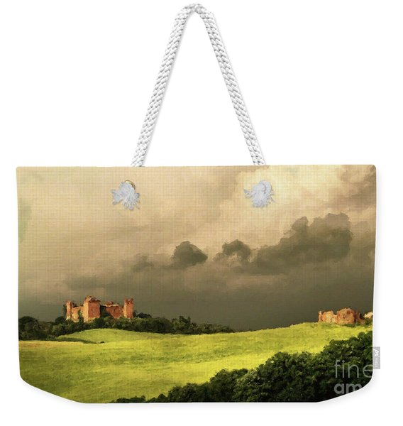 Weekender Tote Bag featuring the mixed media Once Upon A Time In Tuscany by Rosario Piazza